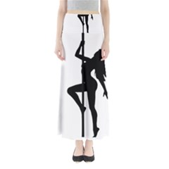 Dance Silhouette Pole Dancing Girl Full Length Maxi Skirt