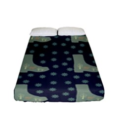 Blue Boots Fitted Sheet (full/ Double Size) by snowwhitegirl