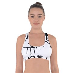 Drawn Eye Transparent Monster Big Cross Back Sports Bra