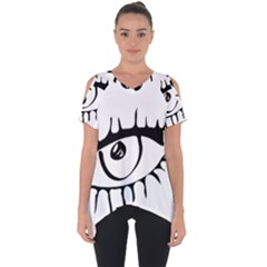 Drawn Eye Transparent Monster Big Cut Out Side Drop Tee