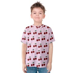 Pink Cherries Kids  Cotton Tee by snowwhitegirl