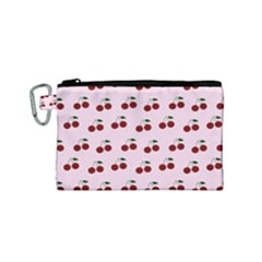 Pink Cherries Canvas Cosmetic Bag (small) by snowwhitegirl
