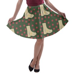 Green Boot A Line Skater Skirt by snowwhitegirl