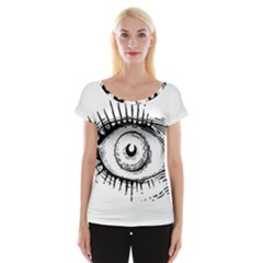 Big Eye Monster Cap Sleeve Tops by AnjaniArt