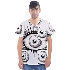 Big Eye Monster Men s V Neck Scrub Top
