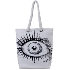 Big Eye Monster Full Print Rope Handle Tote (small) by AnjaniArt