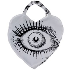 Big Eye Monster Giant Heart Shaped Tote by AnjaniArt