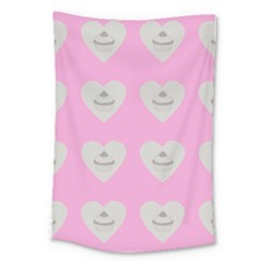 Cupcake Pink Grey Large Tapestry