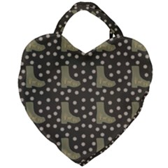 Charcoal Boots Giant Heart Shaped Tote by snowwhitegirl