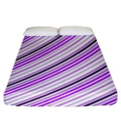 Purple Diagonal Lines Fitted Sheet (king Size)