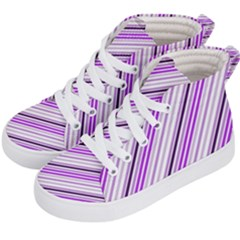 Purple Diagonal Lines Kid s Hi-top Skate Sneakers by snowwhitegirl