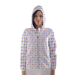 Blue Pink Yellow Eggs On White Hooded Wind Breaker (women) by snowwhitegirl