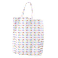 Blue Pink Yellow Eggs On White Giant Grocery Zipper Tote by snowwhitegirl