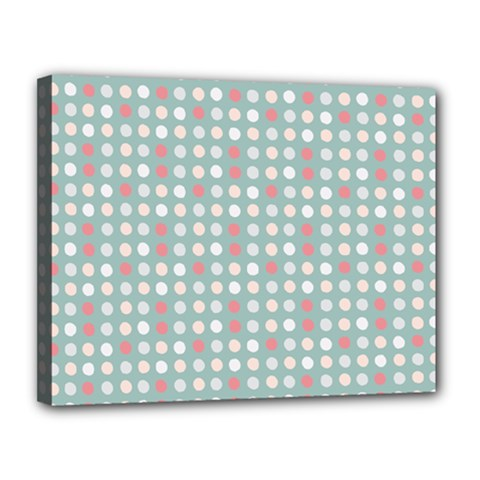 Pink Peach Grey Eggs On Teal Canvas 14  X 11