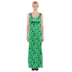 Green Music Maxi Thigh Split Dress by snowwhitegirl