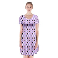 Black White Pink Blue Eggs On Violet Short Sleeve V Neck Flare Dress