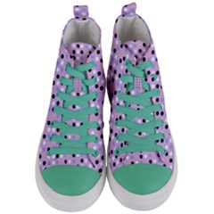 Black White Pink Blue Eggs On Violet Women s Mid Top Canvas Sneakers
