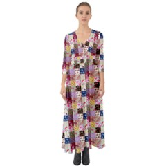 Quilt Of My Patterns Small Button Up Boho Maxi Dress by snowwhitegirl