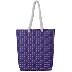 Violet Grey Purple Eggs On Grey Blue Full Print Rope Handle Tote (small)