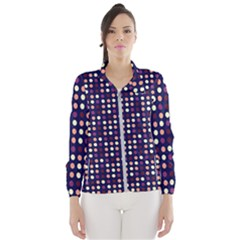 Peach Purple Eggs On Navy Blue Wind Breaker (women) by snowwhitegirl