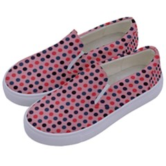 Grey Red Eggs On Pink Kids  Canvas Slip Ons by snowwhitegirl