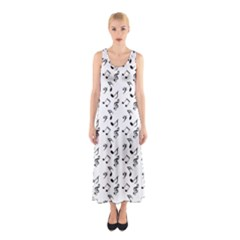 White Music Notes Sleeveless Maxi Dress