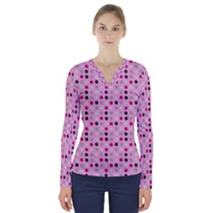 Grey Magenta Eggs On Pink V Neck Long Sleeve Top