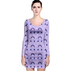Winter Hat Snow Heart Lilac Blue Long Sleeve Bodycon Dress