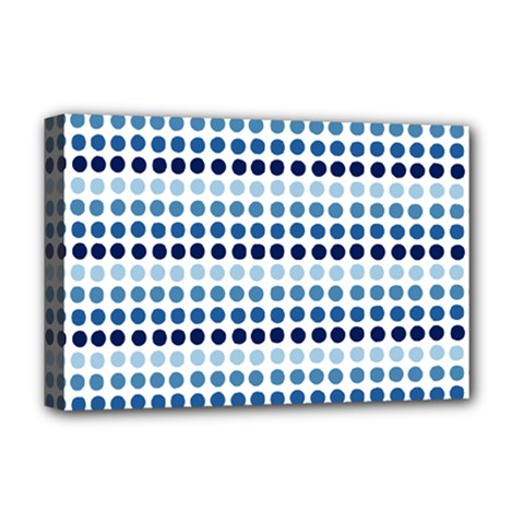 Blue Dots Deluxe Canvas 18  X 12   by snowwhitegirl