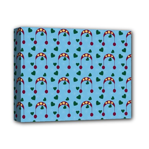 Winter Hat Red Green Hearts Snow Blue Deluxe Canvas 14  X 11  by snowwhitegirl