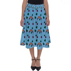 Winter Hat Red Green Hearts Snow Blue Perfect Length Midi Skirt