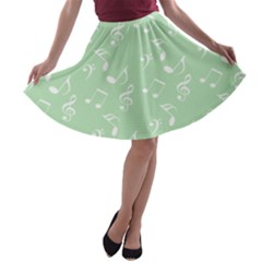 Mint Green White Music A Line Skater Skirt by snowwhitegirl