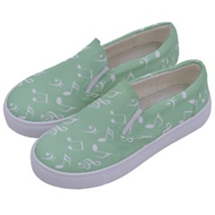 Mint Green White Music Kids  Canvas Slip Ons by snowwhitegirl