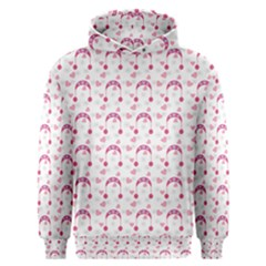Winter Pink Hat White Heart Snow Men s Overhead Hoodie by snowwhitegirl