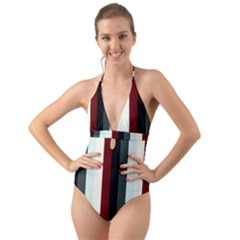 Sitting Halter Cut Out One Piece Swimsuit