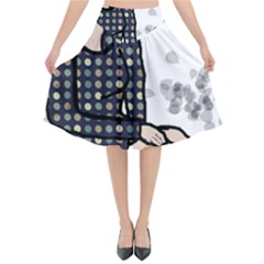 Girl Sitting Flared Midi Skirt by snowwhitegirl
