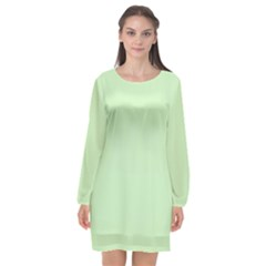 Baby Green Long Sleeve Chiffon Shift Dress