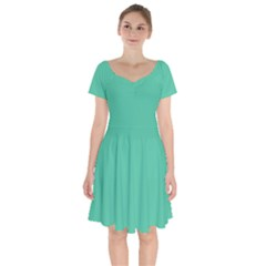 Seafoamy Green Short Sleeve Bardot Dress by snowwhitegirl
