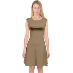 Brownish Capsleeve Midi Dress by snowwhitegirl