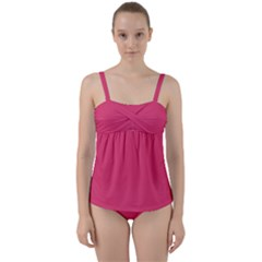 Rosey Day Twist Front Tankini Set