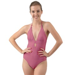 Rosey Halter Cut Out One Piece Swimsuit