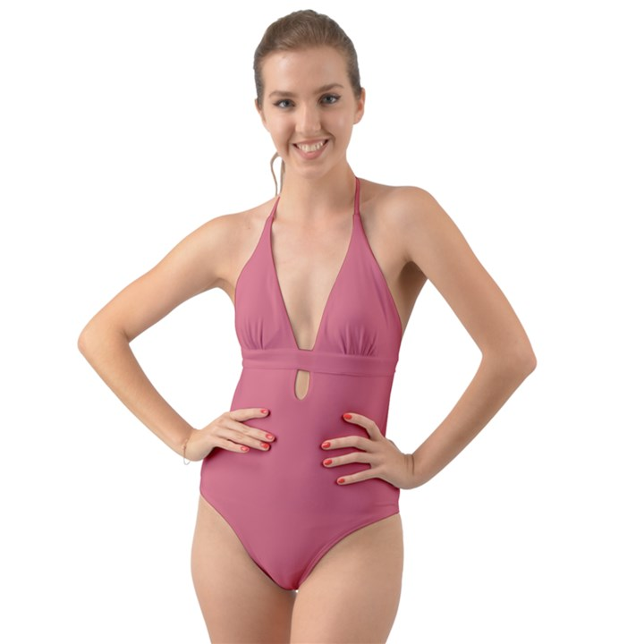 Rosey Halter Cut-Out One Piece Swimsuit