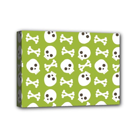 Skull Bone Mask Face White Green Mini Canvas 7  X 5