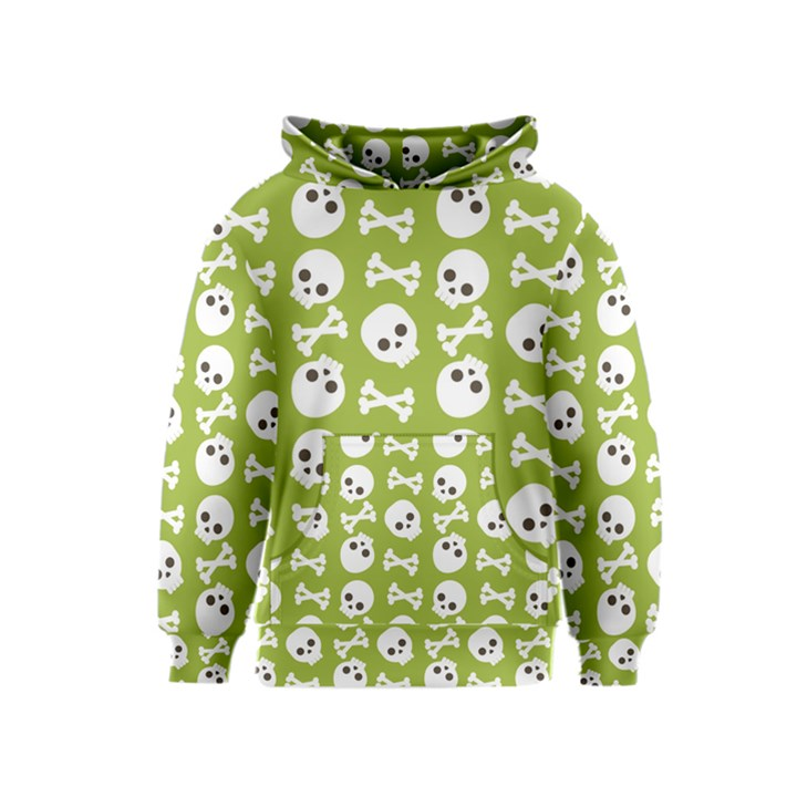 Skull Bone Mask Face White Green Kids  Pullover Hoodie