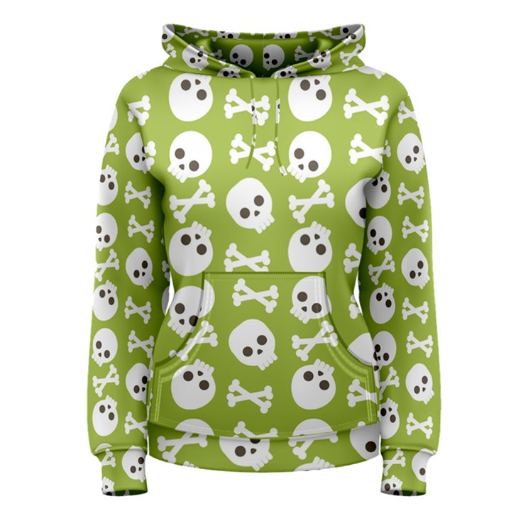 Skull Bone Mask Face White Green Women s Pullover Hoodie