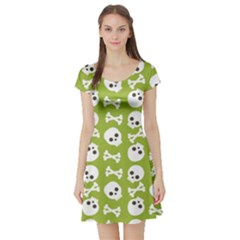 Skull Bone Mask Face White Green Short Sleeve Skater Dress