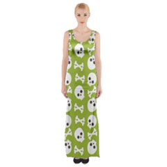 Skull Bone Mask Face White Green Maxi Thigh Split Dress