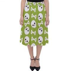 Skull Bone Mask Face White Green Folding Skater Skirt