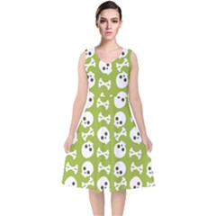 Skull Bone Mask Face White Green V-Neck Midi Sleeveless Dress