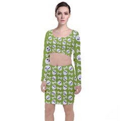 Skull Bone Mask Face White Green Long Sleeve Crop Top & Bodycon Skirt Set